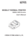 Citizen THERMAL CMP-20 Operation & user's manual