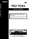 Roland RD-700 Owner's manual