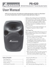 Acesonic PS-420 Operation & User's Manual 8 pages