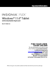 Insignia Flex NS-P11W6100 Important Information Manual 13 pages