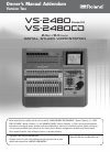Roland VS-2480 Owner's Manual Addendum 92 pages