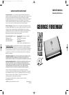 George Foreman GRV120 Owner's manual