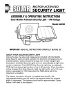 Solar 40220 Assembly & Operating Instructions 8 pages