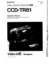 Sony CCD-TR81 - 8mm Camcorder