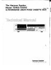 Harman Kardon TD102 Technical Manual 54 pages