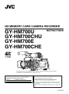 JVC GY-HM700U - Prohd Compact Shoulder Solid State Camcorder Instruction manual