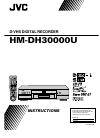 JVC HM-DH30000U - D-VHS HDTV Digital Recorder Instructions Manual 84 pages