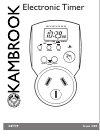 Kambrook KET99 Operation & User's Manual 10 pages