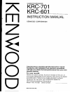 Kenwood KRC-601 Instruction Manual 48 pages