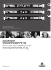 Behringer EUROPOWER EPQ304 Quick Start Manual 15 pages