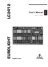 Behringer EUROLIGHT LC2412 Operation & User's Manual 24 pages