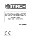 Mach MS 900E Instructions Manual 22 pages