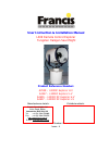 Francis L300RC Explorer H.V User Instruction & Installation Manual 27 pages