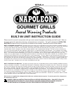 Napoleon Gourmet Gas Grill Instruction manual