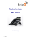 NEC SV-8100 Operation & User's Manual 15 pages
