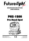 Future light PHS-1200 Operation & User's Manual 29 pages