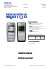 Nokia 1600 - Cell Phone 4 MB Service Manual 20 pages