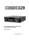 Bogen CR100A Operation & User's Manual 8 pages