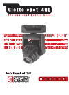 SGM Giotto spot 400 Operation & User's Manual 33 pages