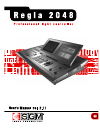 SGM Regia 2048 Operation & User's Manual 141 pages